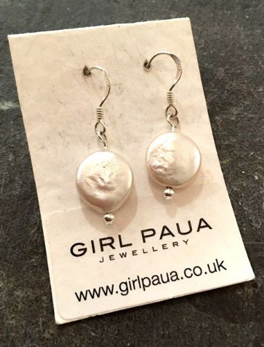 Freshwater Coin Pearl & Silver Bead Earrings FE02C-W